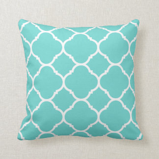 Modern Turquoise and White Quatrefoil Cushion