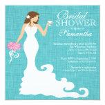 Modern Turquoise Blue Bride Wine Bridal Shower 13 Cm X 13 Cm Square Invitation Card