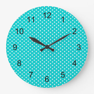 modern Turquoise blue polka dot nursery bedroom Large Clock