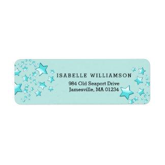 Modern Turquoise Blue Stars Return Address Labels