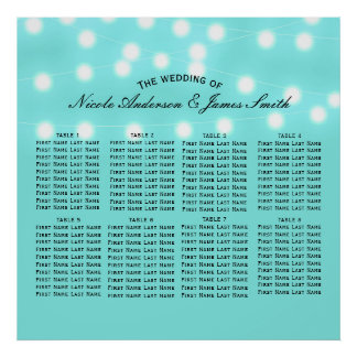 Modern Turquoise Blue & String Lights Seating Poster
