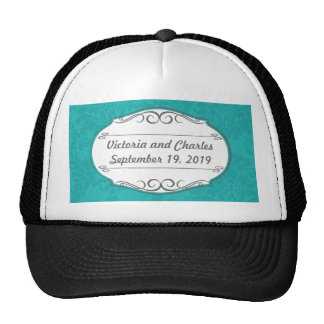Modern Turquoise  Chartreuse Damask Wedding Hat