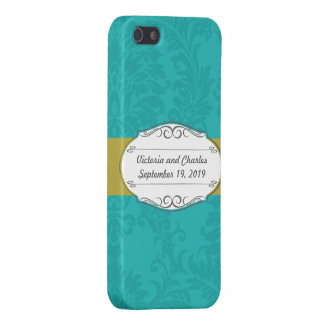 Modern Turquoise  Chartreuse Damask Wedding iPhone 5/5S Covers
