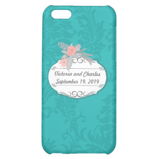 Modern Turquoise  Chartreuse Damask Wedding Case For iPhone 5C
