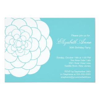 Modern Turquoise Dahlia Bloom Birthday Party 13 Cm X 18 Cm Invitation Card