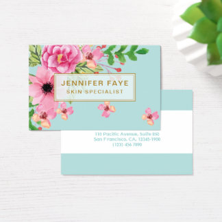 Modern turquoise floral bouquet organic botanical business card