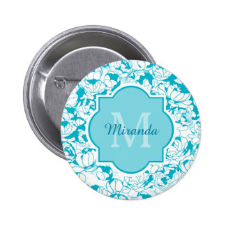 Modern Turquoise Floral Girly Monogram With Name Buttons
