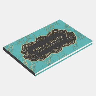 Modern Turquoise & Gold Marble Elegant Guest Book