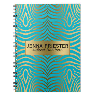 Modern Turquoise & Gold Zebra Stripes Pattern Notebook