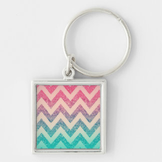 Modern Turquoise Ombre Chevron Key Ring
