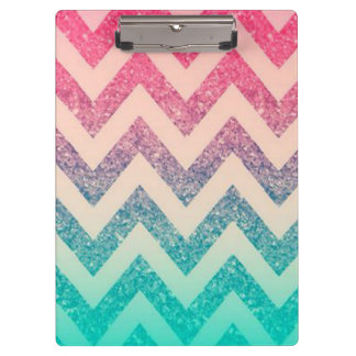 Modern Turquoise Ombre Chevron Pattern Clipboard