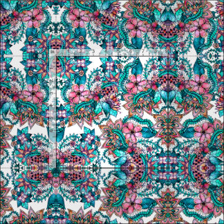 Modern turquoise pink floral watercolor pattern fabric