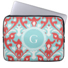 Modern turquoise red ikat tribal pattern monogram laptop sleeve