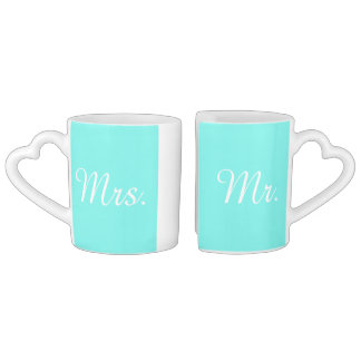modern turquoise  tiffany blue wedding Mr and mrs Lovers Mug