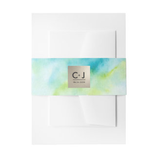 Modern Turquoise Watercolor Wedding Belly Bands Invitation Belly Band