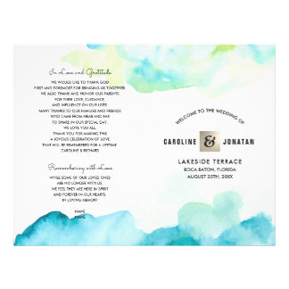 Modern Turquoise Watercolor Wedding Programs Flyer