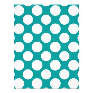 Modern Turquoise White Polka Dots Pattern Custom Flyer