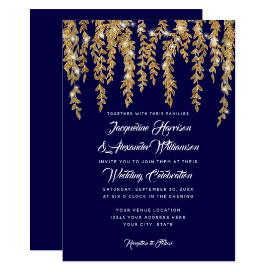 Modern Twinkle Lights Willow Tree Leaves Navy Gold Card