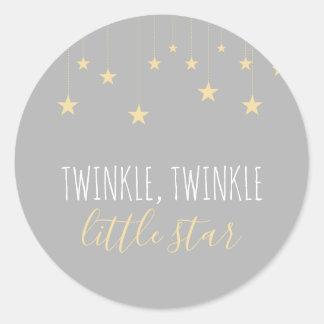 Modern Twinkle Little Star Baby Shower Classic Round Sticker