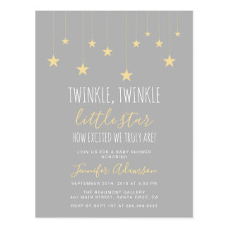 Modern Twinkle Little Star Baby Shower Postcard
