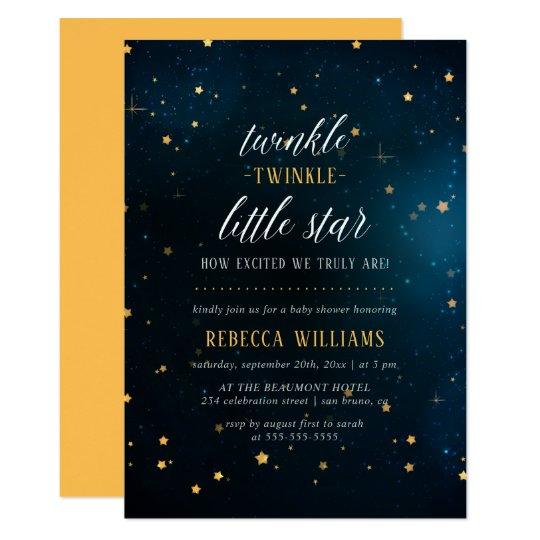 Modern Twinkle Twinkle Little Star Baby Shower Card