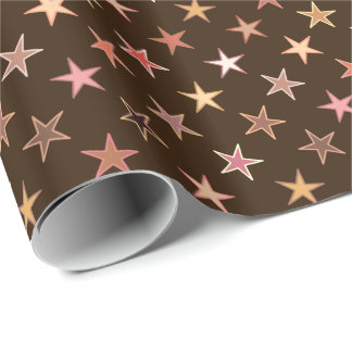 Modern Twinkling Stars, Chocolate Brown and Tan Wrapping Paper