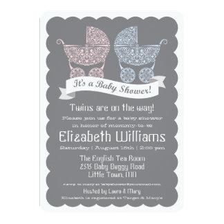 "Modern Twins Baby Shower Invitation 5"" X 7"" Invitation Card"