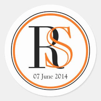 Modern Two Initials Orange Black Wedding Stickers