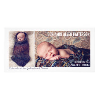 Modern Two Photo Baby Boy Birth Announcement Photo Card