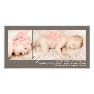 Modern Two Photo Baby Girl Birth Announcement Photo Cards