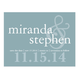 Modern Types Save the Date Bold Wedding Postcard