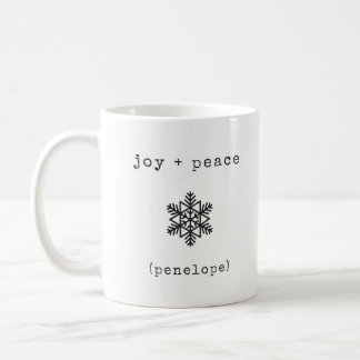 Modern Typewriter | Black and White Christmas Coffee Mug