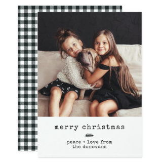 Modern Typewriter | Holiday Photo on Black Gingham Card