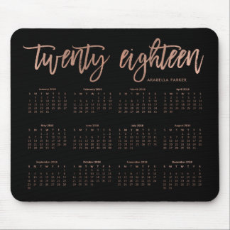 Modern Typography 2018 Calendar | Faux Rose Gold Mouse Pad