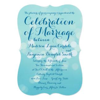 Modern Typography Aqua Blue Wedding Invitations