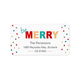 Modern Typography Be Merry Christmas Confetti Address Label