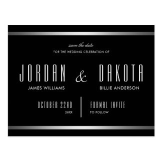 Modern Typography | Black & Silver Save The Date Postcard