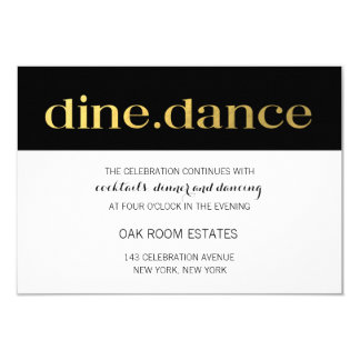 Modern Typography Black White Stripes | Reception Card