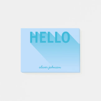 Modern Typography Blue Hello Post-it Notes
