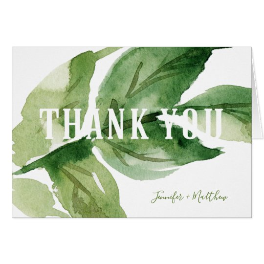 Modern Typography Botanical Thank You Cards