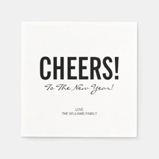 Modern Typography Cheers New Year's Paper Napkins