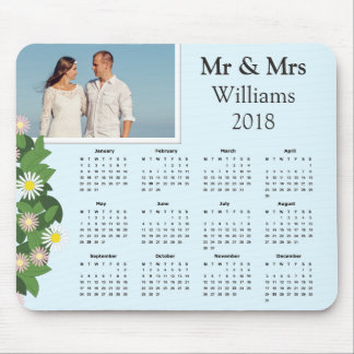 Modern Typography Couple Photo | 2018 Calendar Mouse Pad