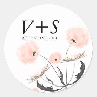 Modern Typography Dandelion Wedding Custom Favor Round Sticker