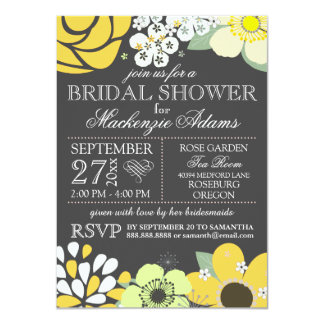 """Modern Typography Floral Bridal Shower Gray Yellow 4.5"""" X 6.25"""" Invitation Card"""