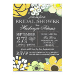 Modern Typography Floral Bridal Shower Grey Yellow 11 Cm X 16 Cm Invitation Card