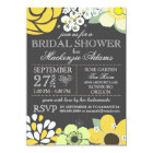 Modern Typography Floral Bridal Shower Grey Yellow Card