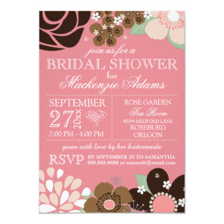 Modern Typography Floral Bridal Shower Pink Brown 4.5x6.25 Paper Invitation Card