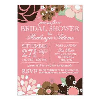 "Modern Typography Floral Bridal Shower Pink Brown 4.5"" X 6.25"" Invitation Card"