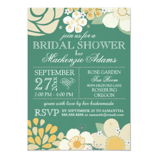 Modern Typography Floral Bridal Shower Teal Green 4.5x6.25 Paper Invitation Card