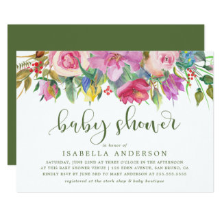 Modern Typography | Floral Watercolor Baby Shower Card